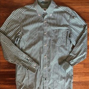 Lacoste Green Striped Button Front Shirt 40 Medium